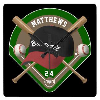 La gorra de béisbol golpea número conocido reloj cuadrado