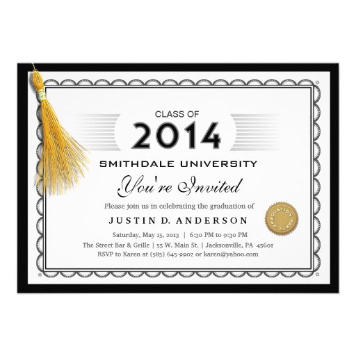 La graduación 2014 del diploma invita con la borla invitaciones personales