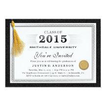 La graduación 2015 del diploma invita con la borla invitación 12,7 x 17,8 cm