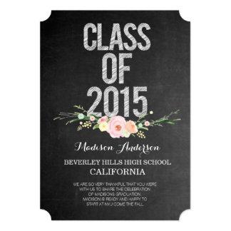 La graduación 2015 le agradece pizarra floral invitación 12,7 x 17,8 cm
