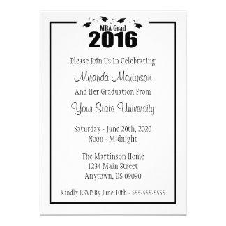 """La graduación 2016 del graduado de MBA invita (los Invitación 5"""" X 7"""""""