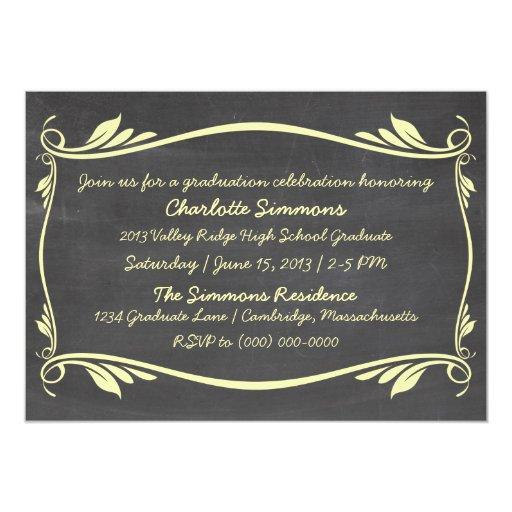 La graduación amarilla de la pizarra del Flourish Invitación 12,7 X 17,8 Cm