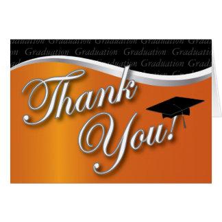 La graduación anaranjada y negra le agradece felicitacion