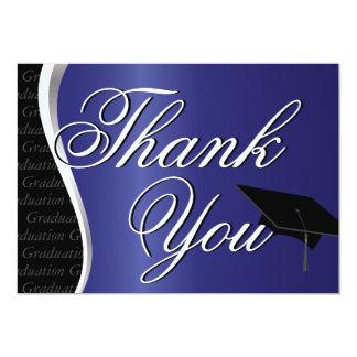 """La graduación azul y negra le agradece invitación 5"""" x 7"""""""