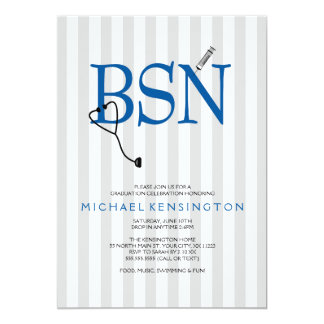 """La graduación de la enfermera de BSN RN invita/las Invitación 5"""" X 7"""""""