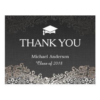 La graduación de plata elegante del damasco le postales