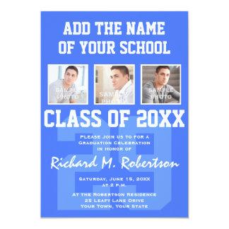 """La graduación del atleta del azul real y del invitación 5"""" x 7"""""""