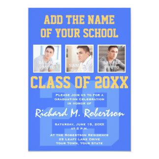 """La graduación del atleta del azul real y del oro invitación 5"""" x 7"""""""
