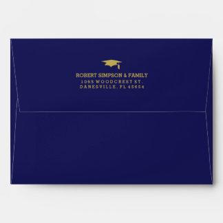 La graduación del azul y del oro 5x7 invita al sobres