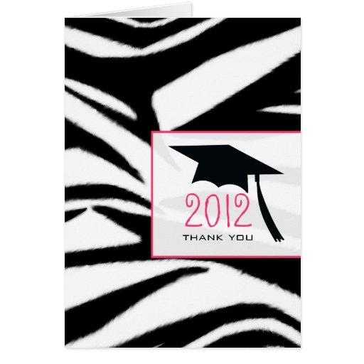 La graduación del estampado de zebra le agradece tarjeta de felicitación