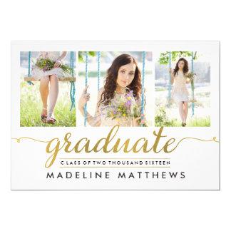 """La graduación Editable del color de la escritura Invitación 5"""" X 7"""""""