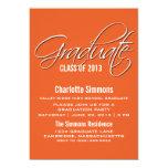 La graduación elegante anaranjada de la escritura invitación 12,7 x 17,8 cm