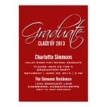 La graduación elegante roja de la escritura invita invitación 12,7 x 17,8 cm
