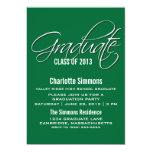 La graduación elegante verde de la escritura invitación 12,7 x 17,8 cm