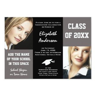 """La graduación gris y negra elegante de la mujer invitación 5"""" x 7"""""""