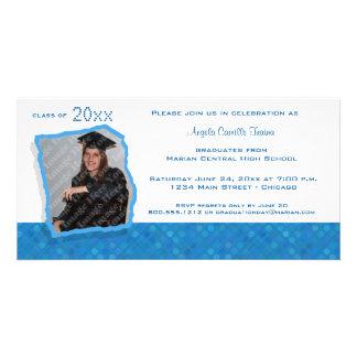 La graduación inspirada retra azul del lunar invit tarjeta fotografica personalizada