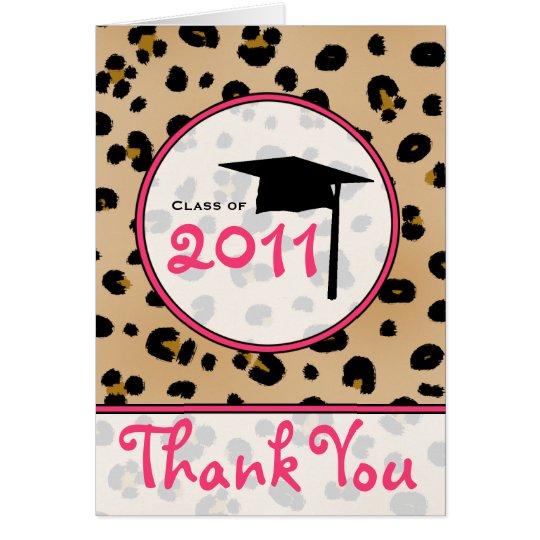 La graduación le agradece cardar - el leopardo tarjeta de felicitación