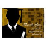 La graduación le agradece cardar el oro de mosaico tarjeta