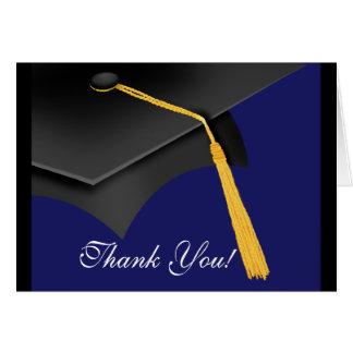 La graduación le agradece casquillo azul del tarjetas