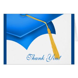 La graduación le agradece el casquillo azul blanco felicitación