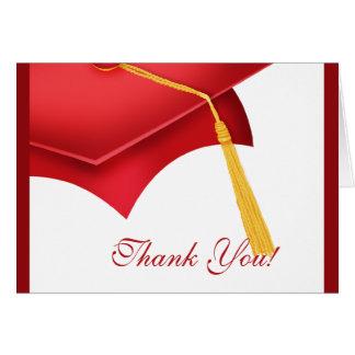 La graduación le agradece el casquillo rojo blanco tarjeta pequeña