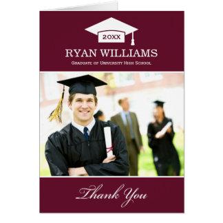 La graduación le agradece rojo marrón oscuro de tarjeta pequeña
