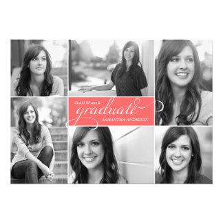 La graduación moderna de la escritura de 6 fotos i invitacion personal