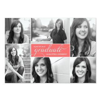 La graduación moderna de la escritura de 6 fotos invitacion personal