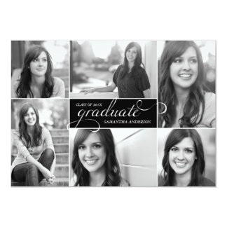 La graduación moderna de la escritura de 6 fotos invitación 12,7 x 17,8 cm