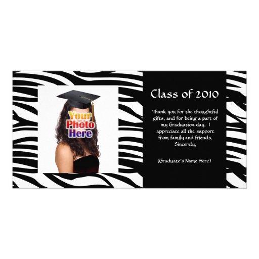 La graduación negra de la cebra agradece le o la i tarjetas fotográficas