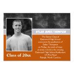 La graduación negra, gris, y anaranjada de la foto invitación 12,7 x 17,8 cm