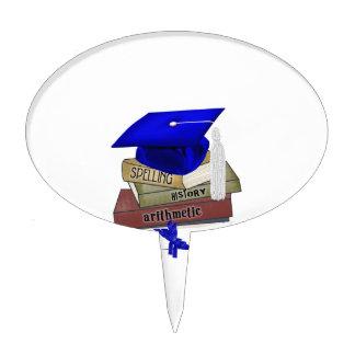 La graduación reserva el casquillo y el diploma, decoraciones para tartas