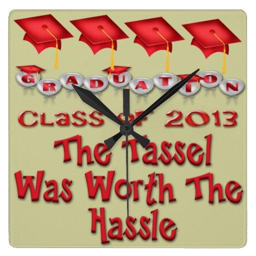La graduación roja capsula el reloj de pared