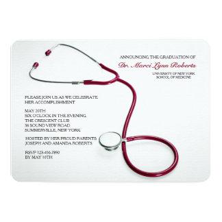 """La graduación roja de la Facultad de Medicina del Invitación 5"""" X 7"""""""