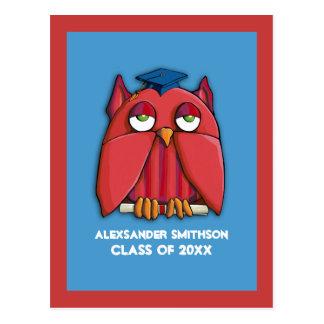La graduación roja del búho de la aguamarina roja  postales