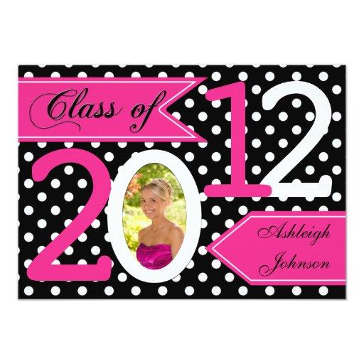 """La graduación rosada blanca negra de la foto del invitación 5"""" x 7"""""""