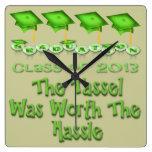 La graduación verde capsula el reloj de pared