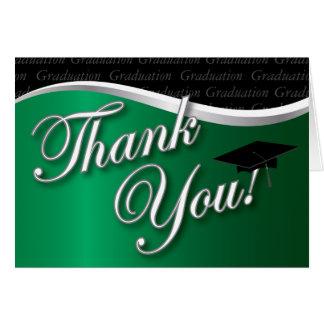 La graduación verde y negra le agradece tarjeta pequeña