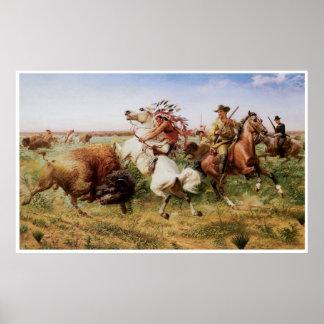 La gran caza real del búfalo, 1895 póster