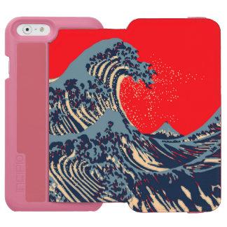 La gran decoración del estallido de la onda de funda billetera para iPhone 6 watson