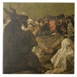 La gran Él-cabra de las brujas el Sabat o Azulejo Cuadrado Grande