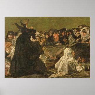 La gran Él-cabra de las brujas el Sabat o Poster