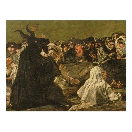La gran Él-cabra de las brujas el Sabat o Tarjeta Postal