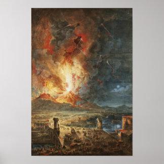La gran erupción del monte Vesubio Póster