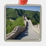 La Gran Muralla de China en Pekín, China Adorno Navideño Cuadrado De Metal