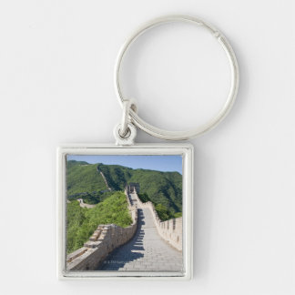 La Gran Muralla de China en Pekín, China Llavero Cuadrado Plateado