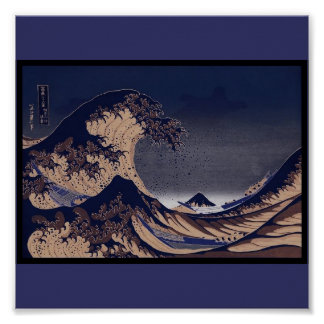 La gran onda, C. de pintura japonesa 1830-1832 Póster