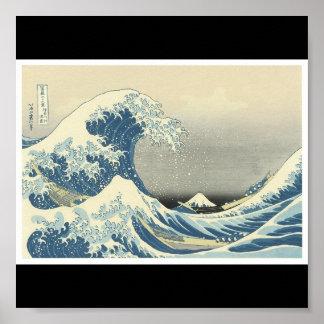 """""""La gran onda"""" C. de pintura japonesa 1830-1832 Póster"""
