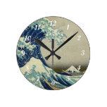 La gran onda de Hokusai de Kanagawa Relojes De Pared