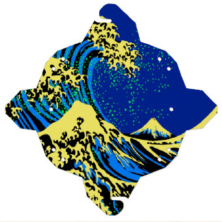 La gran onda de Hokusai en estilo azul del arte Cajas Para Regalos De Fiestas